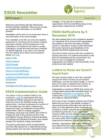 ESOS Newsletter Issue 1 2016