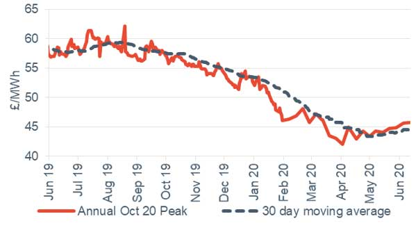 Peak electricity Annual October contract 12 June 2020