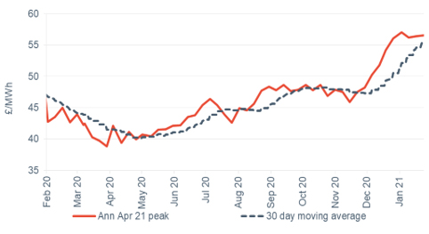 Peak electricity Annual April contract 29 January 2021
