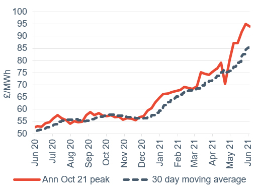 Peak electricity Annual October contract 4 June 2021