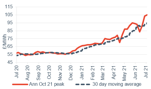 Peak electricity Annual October contract 9 July 2021