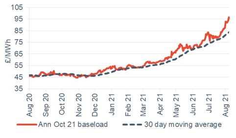 Baseload electricity Annual October contract 13 August 2021