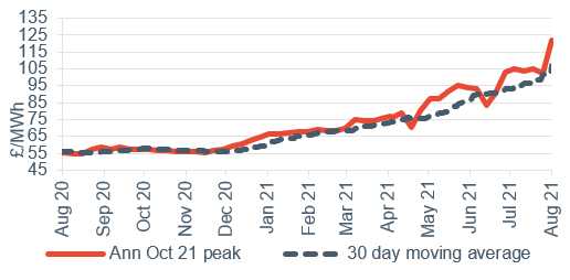 Peak electricity Annual October contract 6 August 2021